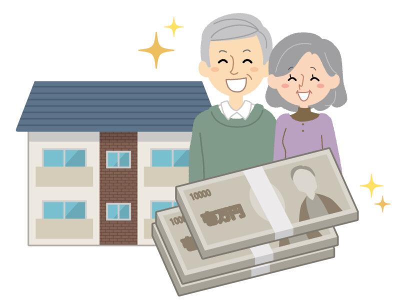 賃貸経営で家賃を得る夫婦のイラスト画像