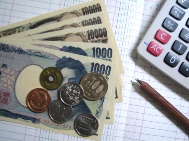 お金・電卓・帳簿の写真画像