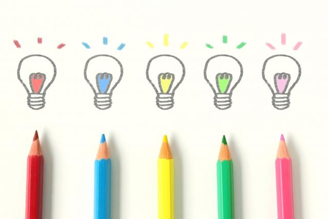 アイデアをイメージしたカラフルな色の写真画像